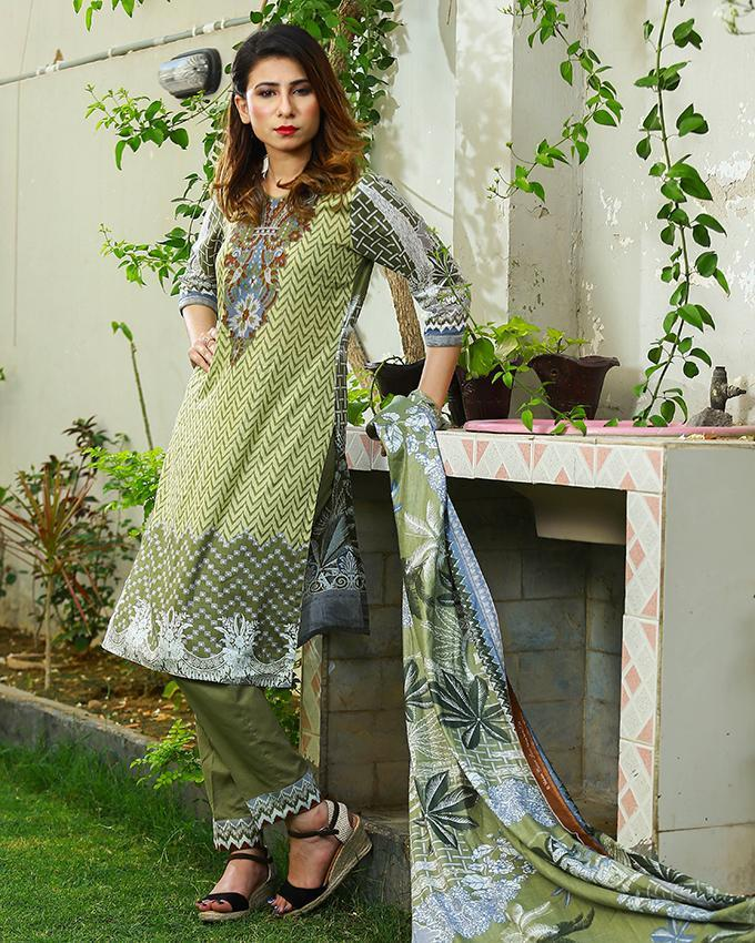 Emerce- 3Pcs Women Unstitched Printed Lawn Suit - E-1255048322 by Emerce priced at 1699 | Bagallery Deals
