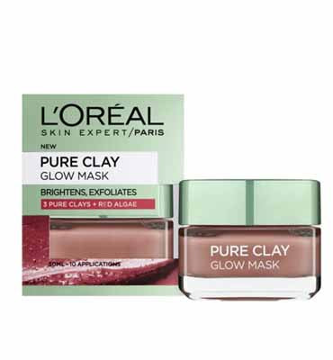 L'Oreal Paris Pure Clay Red Face Mask with Red Algae, Exfoliates and Brightens Pores 50 ml