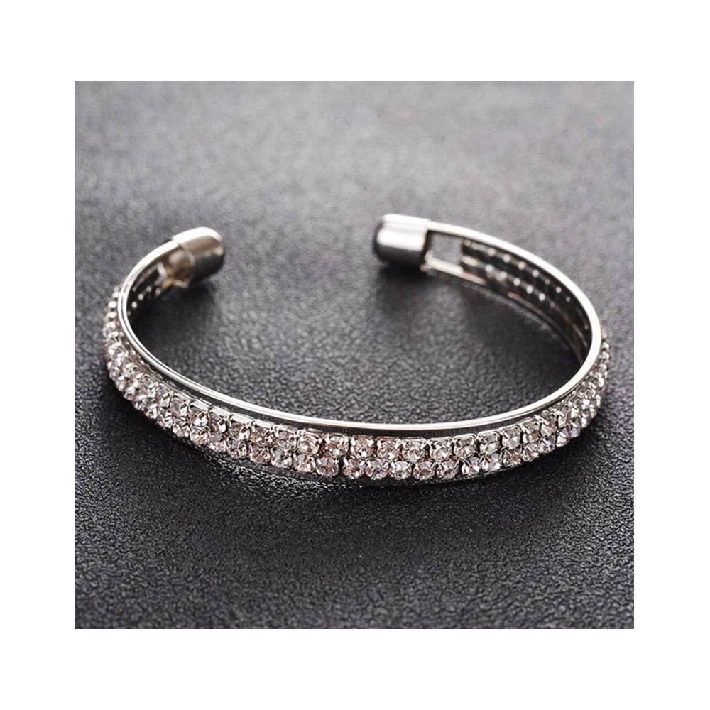The Marshall- Silver Crystal Cuff Bracelet for Women - TM-BT-18