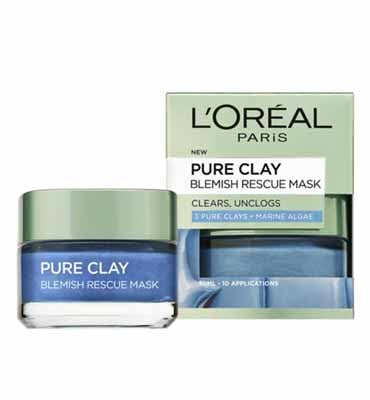 L'Oreal Paris Pure Clay Blue Face Mask with Marine Algae Clears Blackheads and Shrink Pores 50 ml