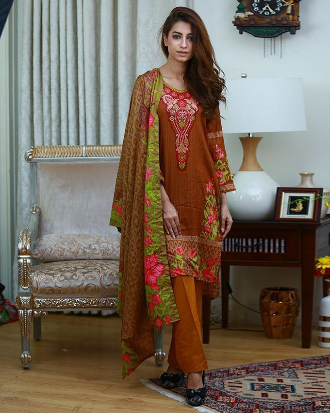 Emerce- 3Pcs Women Unstitched Printed Lawn Suit - E-1255946143 by Emerce priced at 1699 | Bagallery Deals