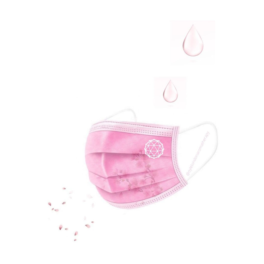 pink face mask aromatherapy droplets