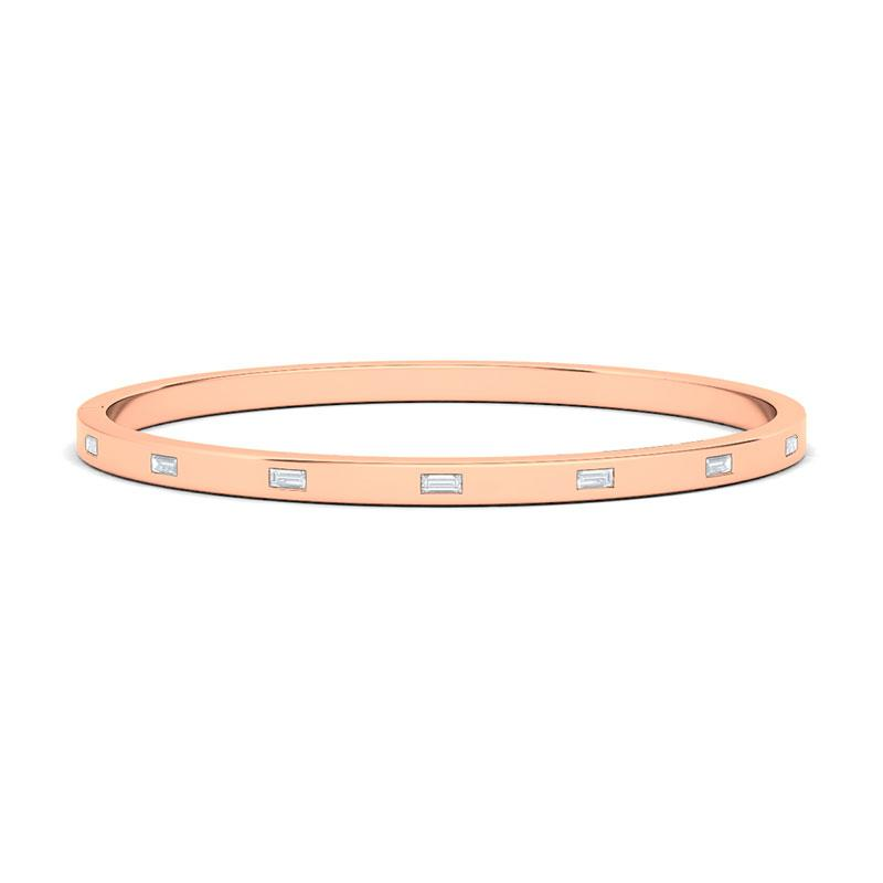 Sideways Baguette Diamond Distance Bangle