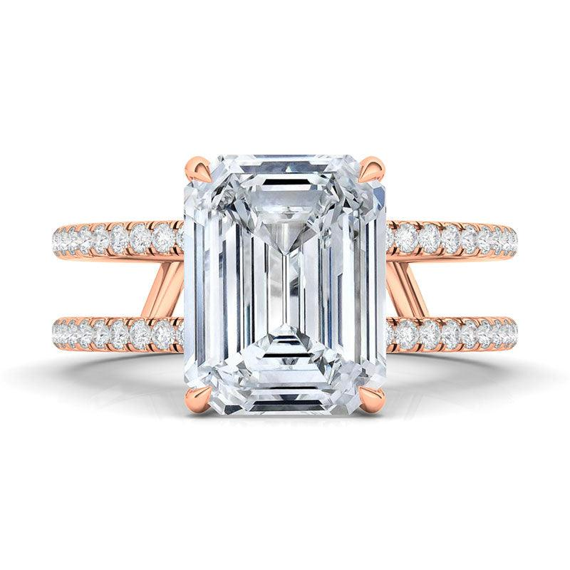 Emerald Cut Double Pave Diamond Ring