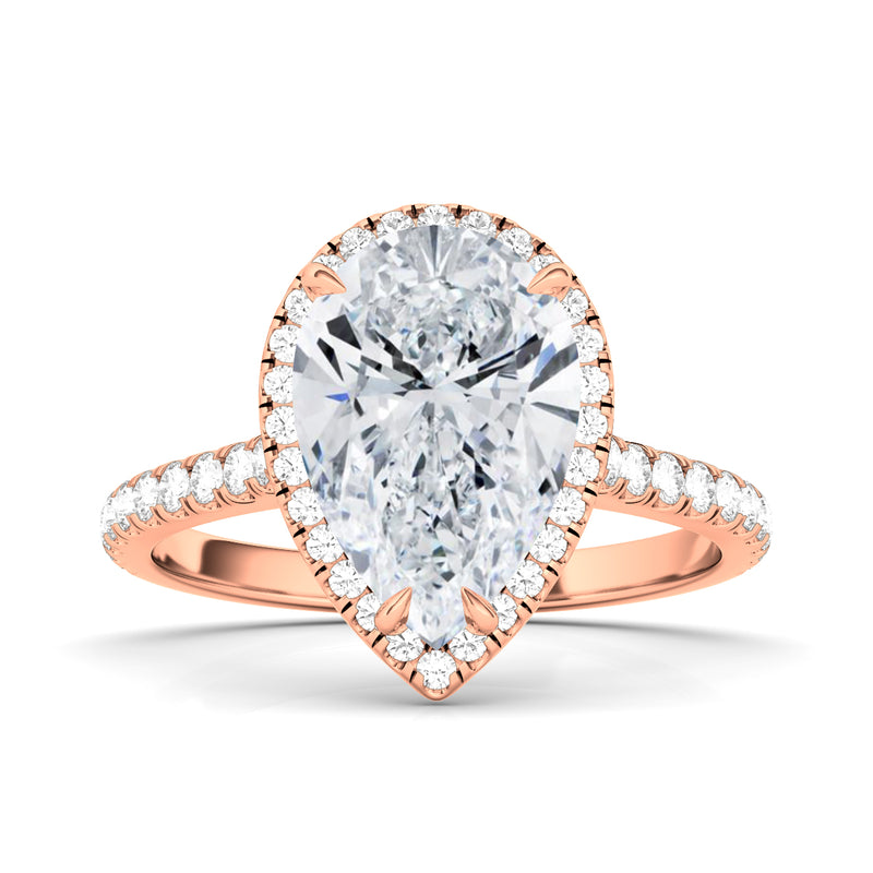 Pear Cut Halo Pave Diamond Ring