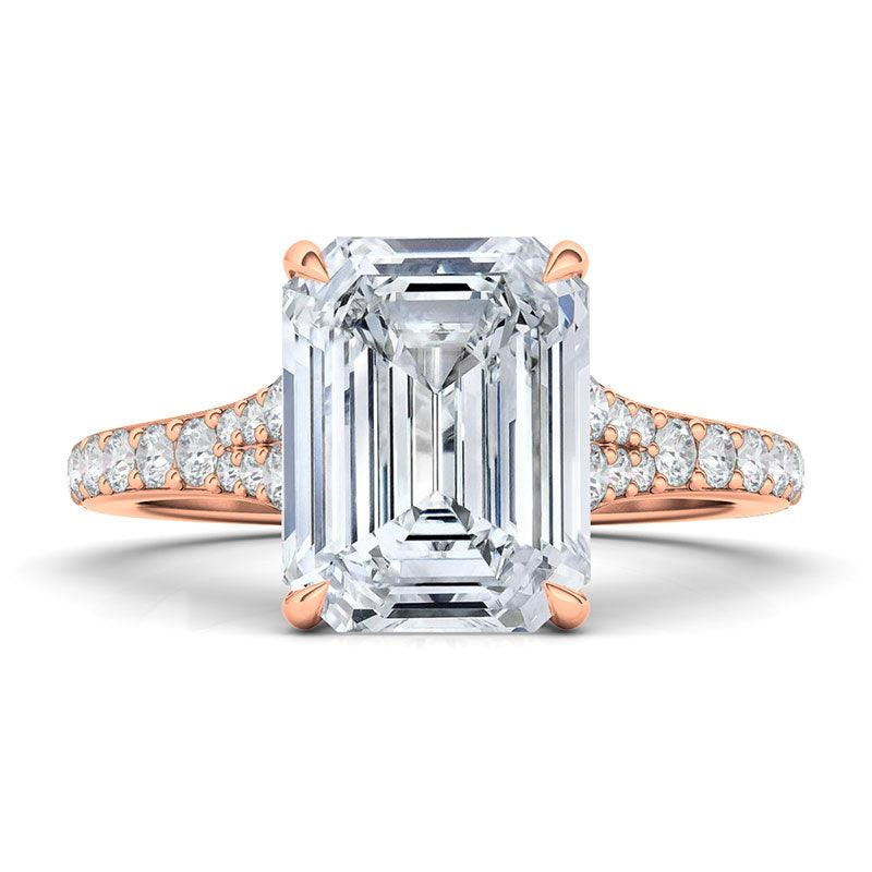 Emerald Cut Tapered Pave Diamond Ring