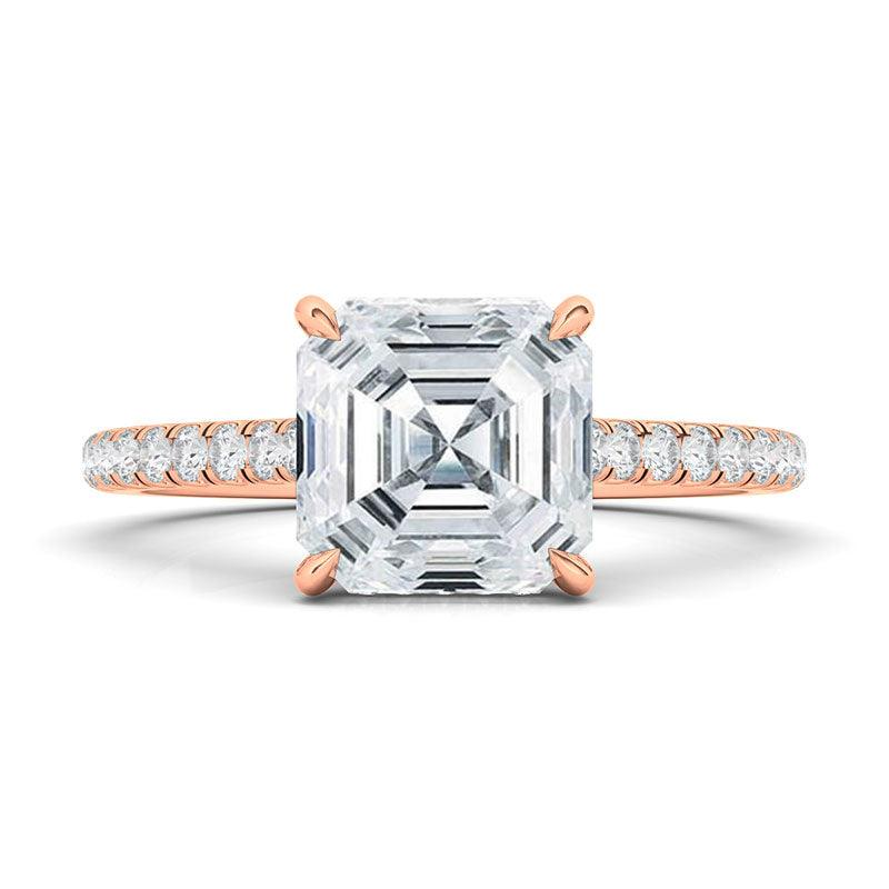 Asscher Cut with Pave Diamonds Ring