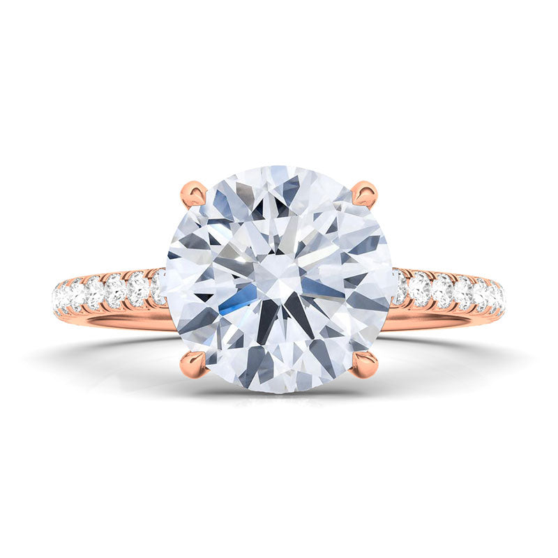 Round Brilliant with Pave Diamonds Ring