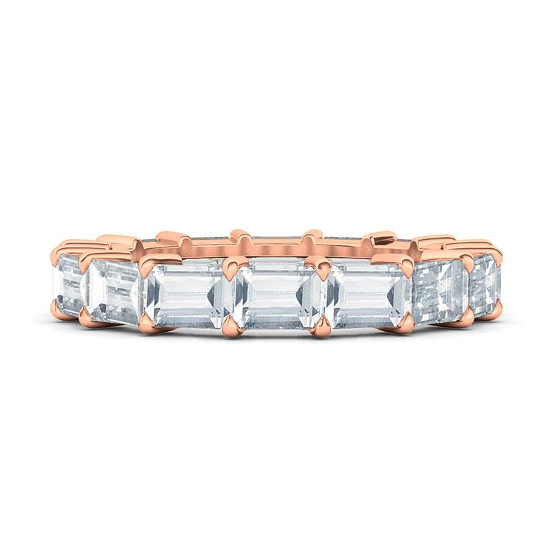 Sideways Emerald Cut Eternity Band