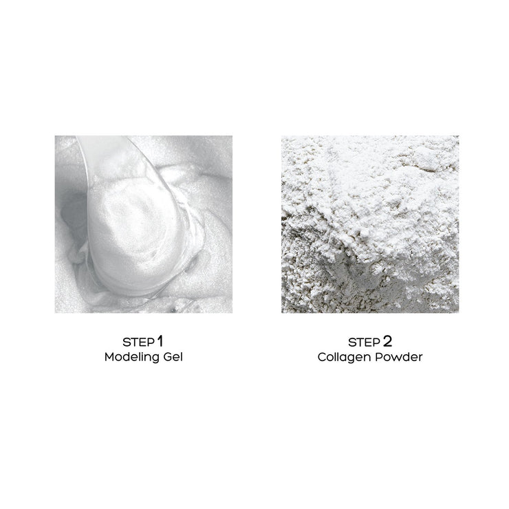 Steps of the Voesh Modeling Mask: modeling gel and collagen powder.
