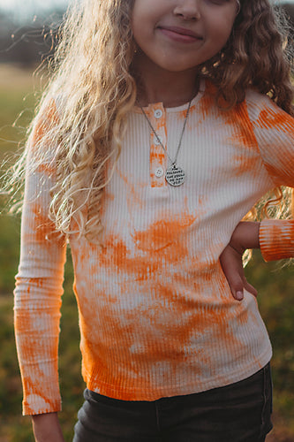 Sunset Ribbed Tie Dye Top - Girls