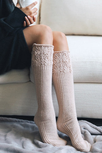 Knee High Pointelle Ribbed Socks in Blush