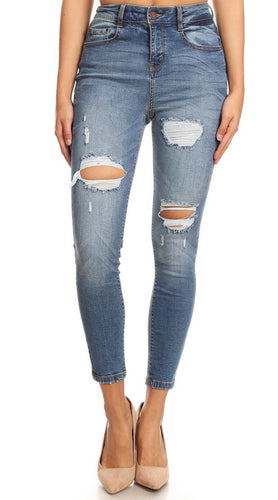 Midrise Distressed Skinnies