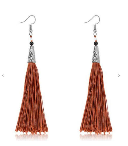 Rusty Long Tassel Earrings
