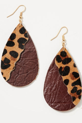 Leather Animal Print Teardrop Earrings in Brown Leopard