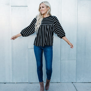 Balloon Sleeve Striped Top (more color options)