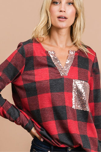 Buffalo Plaid & Sequin V- Neck Top