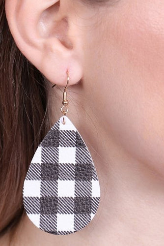 Buffalo Plaid Teardrop Earrings (more color options)