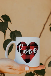 Buffalo Plaid Love Mug