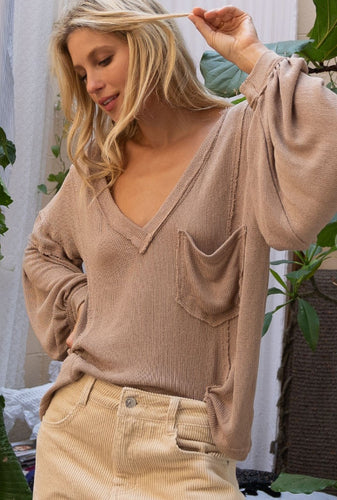 Deep V All Weather Sweater In Taupe