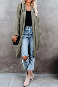 Extra Long Waffle Knit Cardi in Moss