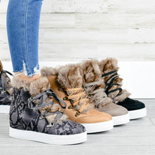 Load image into Gallery viewer, Faux Fur Cozy Wedge Sneakers
