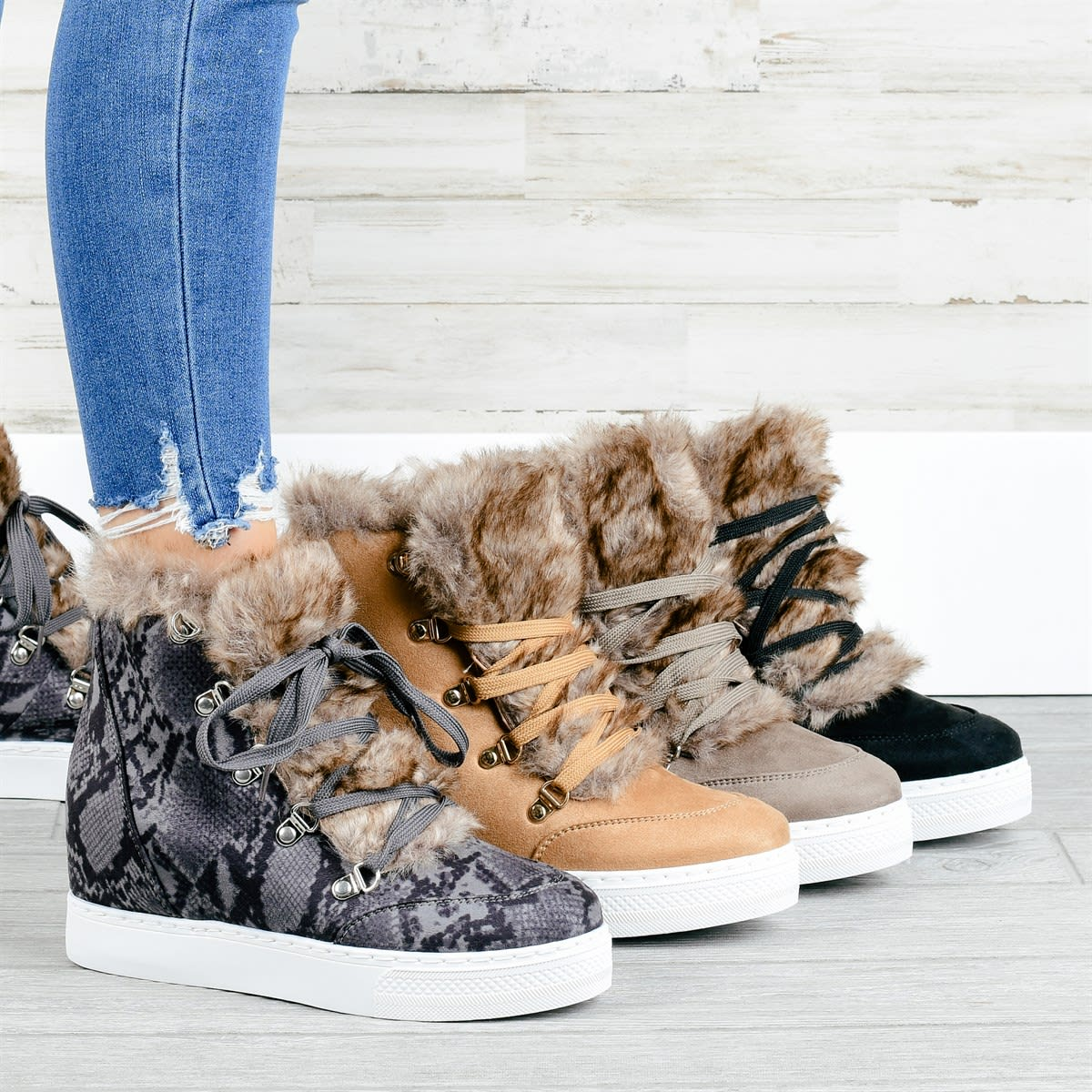 Faux Fur Cozy Wedge Sneakers
