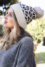 Load image into Gallery viewer, Faux Fur Leopard Beanie in Ivory