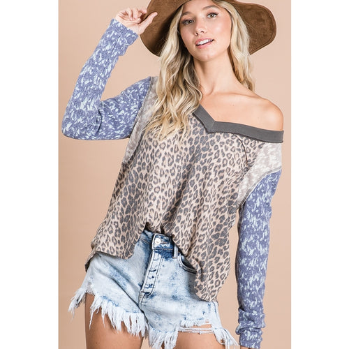 Inside Out Seam Leopard Patch V-Neck