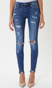 Kan Can Mid Rise Distressed Super Skinny
