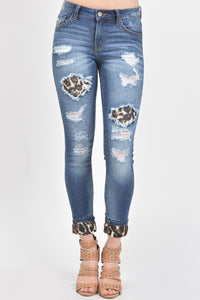 Kan Can Leopard Patch Skinnies