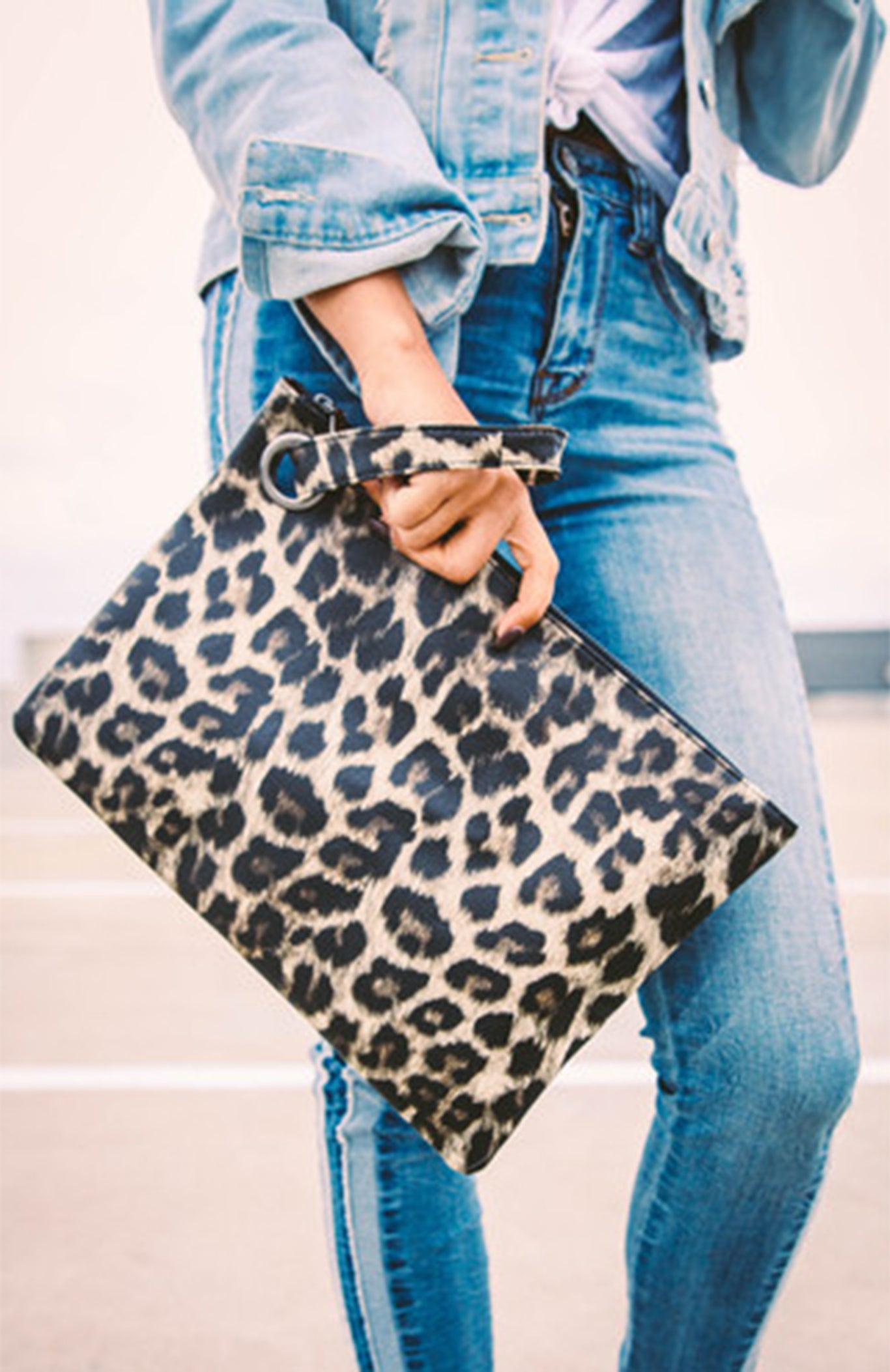 Large Leopard Clutch