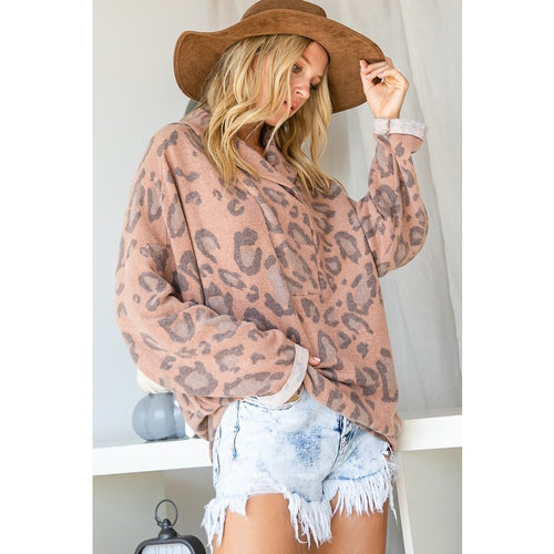 Leopard Brushed Pullover