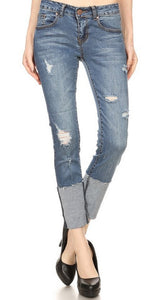 Low Rise Rolled Hem Distressed Jeans