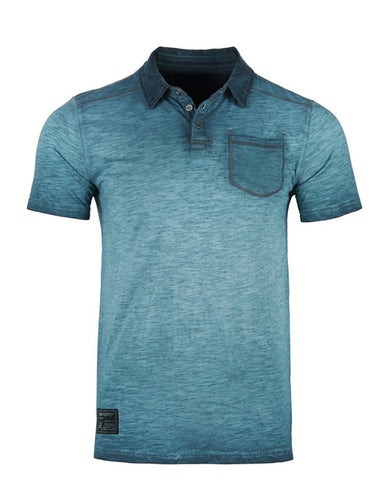 Aqua Oil Wash Henley Polo - Mens