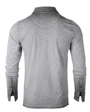Load image into Gallery viewer, Grey Oil Wash Long Sleeve Henley - Mens