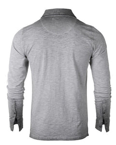 Grey Oil Wash Long Sleeve Henley - Mens