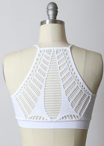 Seamless Razor Slash Back Bralette in White