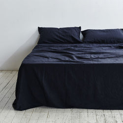 King Flat Sheet-Navy