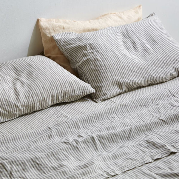 100% Linen Double Fitted Sheet-Stripe