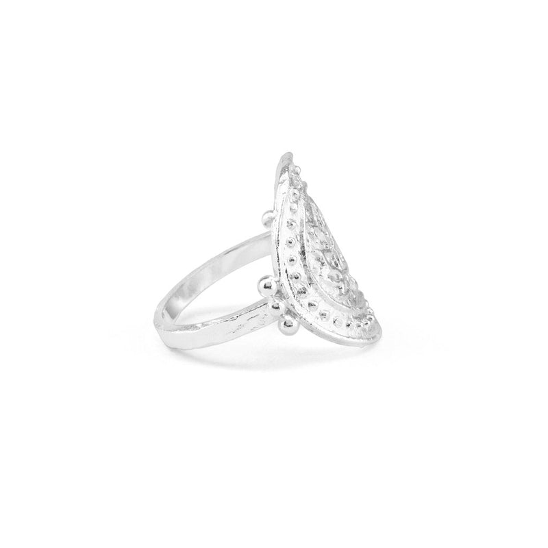 Silver Large Lotus Rising Ring