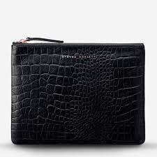 Fake It Clutch - Black Croc Emboss