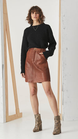 Pocket A-Line Skirt - Tan