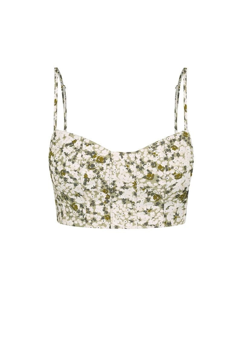 Suzette Linen Fitted Corded Crop Top - Olive/Multi