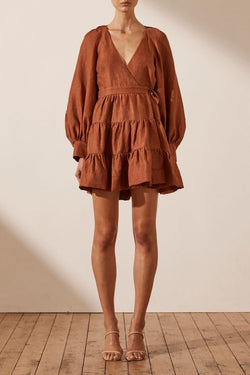 Elsa Linen Wrap Mini Dress