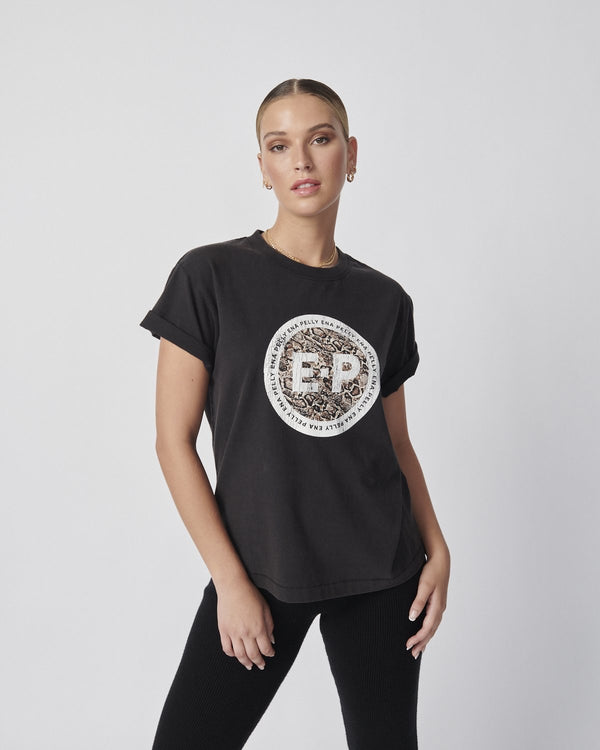 Snake Stamp Tee - Washed Black