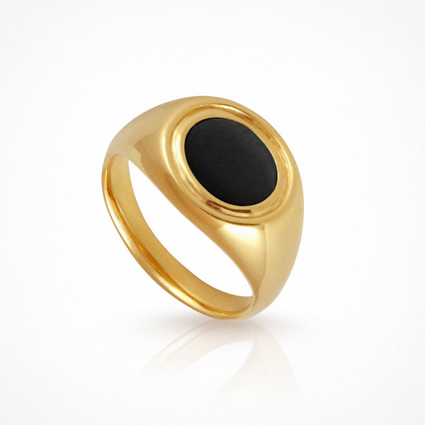 Kosmos Ring Onyx - Gold