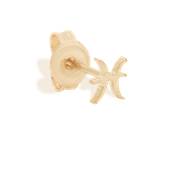 Gold Pisces Stud Earrings