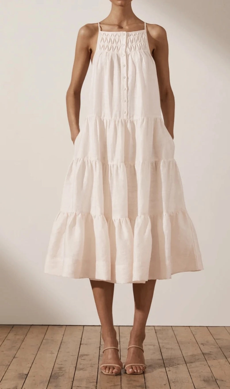 Margaux Linen Tuxedo Sleeveless Midi Dress - Ecru