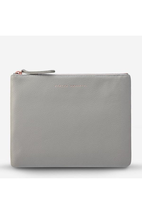 Fake It Clutch-Light Grey